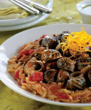 Orzo Pilaf with Snails and Chios Mastiha Oil
